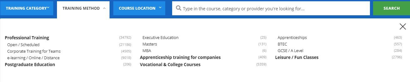Screenshot of the training method filtering menu on findcourses.co.uk